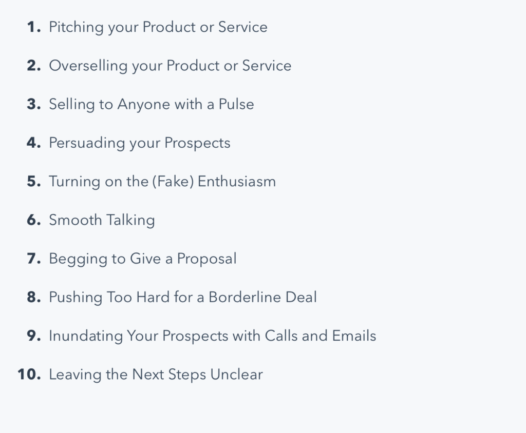 Sales Techniques to Avoid